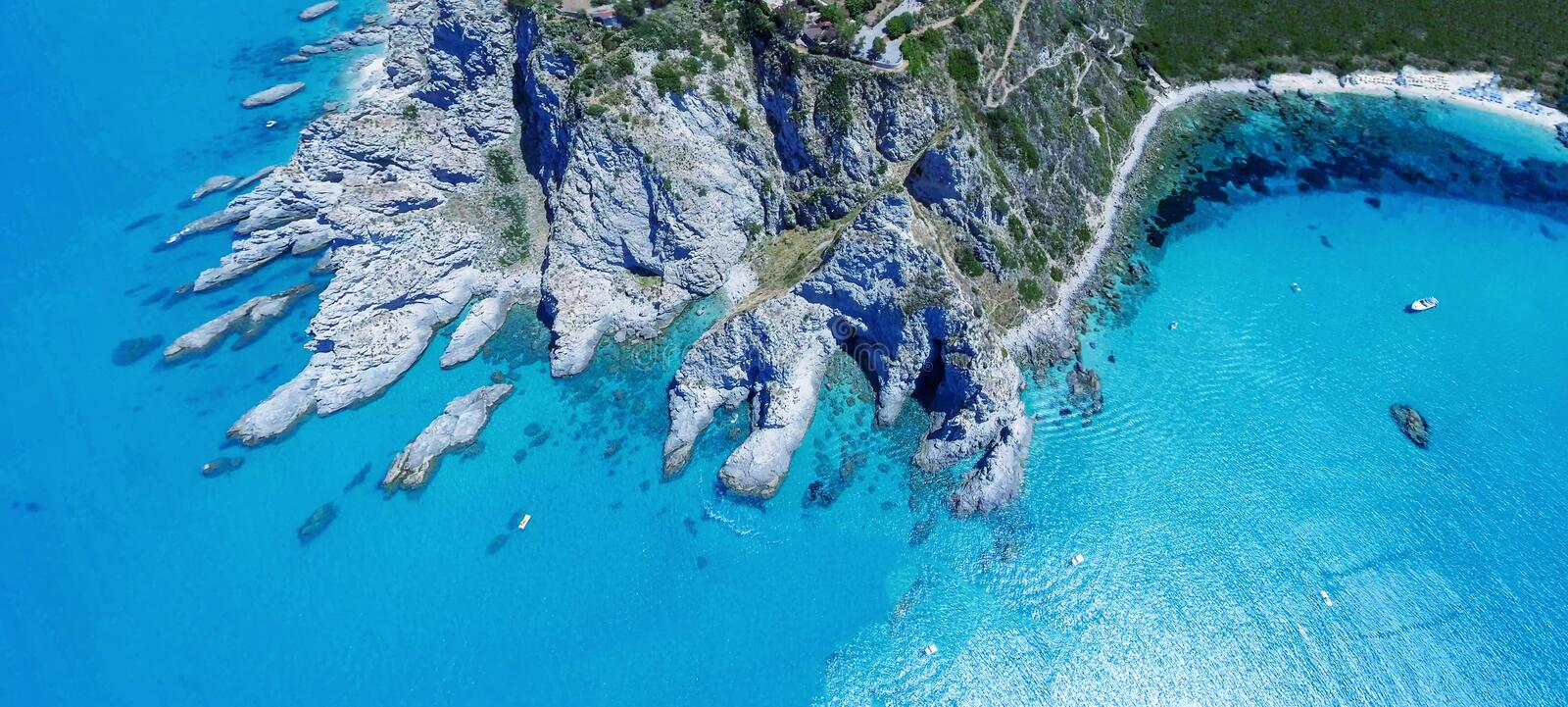 Capo Vaticano, Calabria - Italy. Amazing panoramic overhead aerial view of coastline on a sunny day.  stock photos