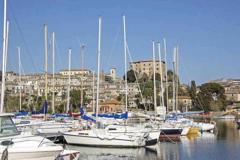 Capodimonte am Lago Bolsena. The port of the small town of Capodimonte on Lake Bolsena royalty free stock photos