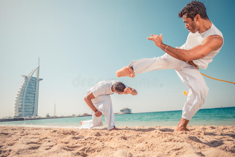 Capoeira athletes royalty free stock photos