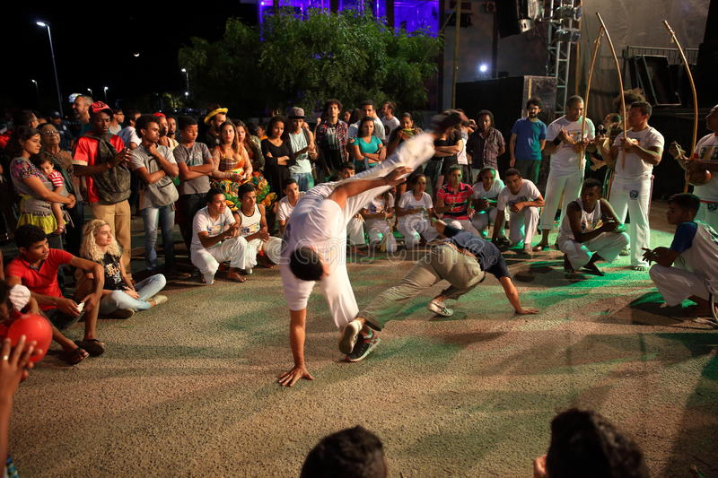 Capoeira dance and martial arts festival in Petrolina Brazil. People are fighting and dancing at the Capoeira dance and martial arts festival in Petrolina Brazil stock photos