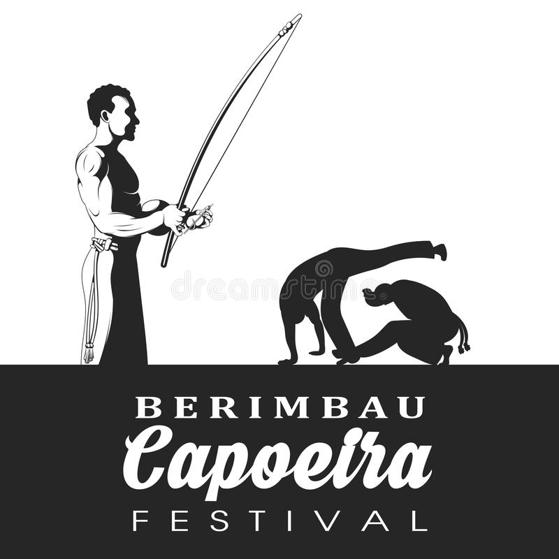Capoeira dancer playing a instrument berimbau. Two capoeira dance fighter silhouette. vector illustration