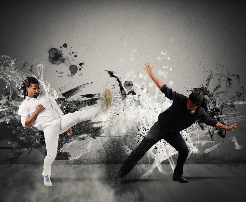 Capoeira het vechten stock fotografie