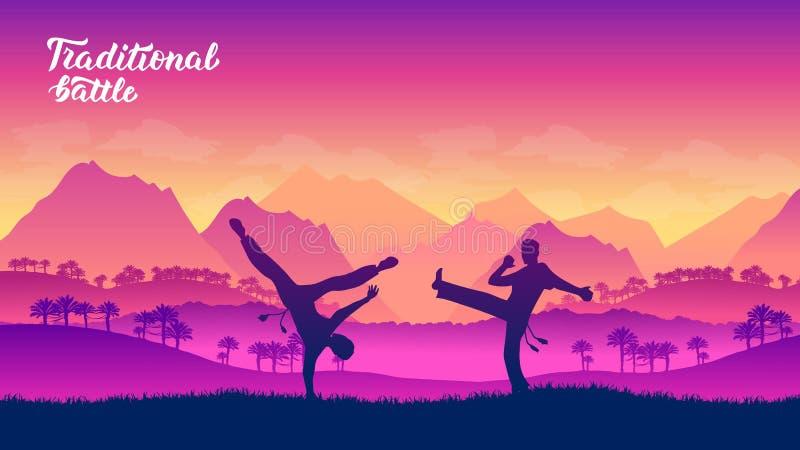 Capoeira krigarekampsporter av olika nationer vektor illustrationer