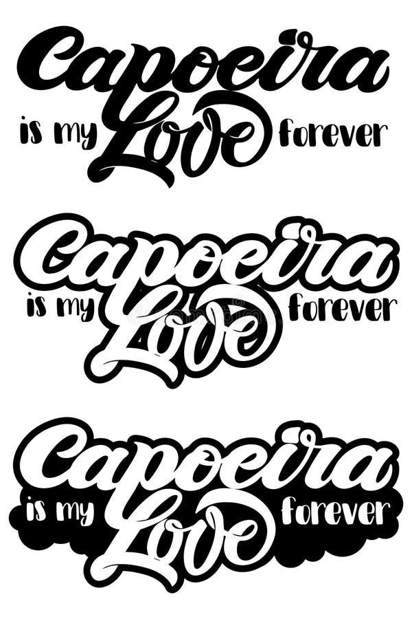 Capoeira literowanie i sillouettes capoeirists, żadny tło Dla projektować capoeira promo, logo, sztandar, plakat, strona internet royalty ilustracja