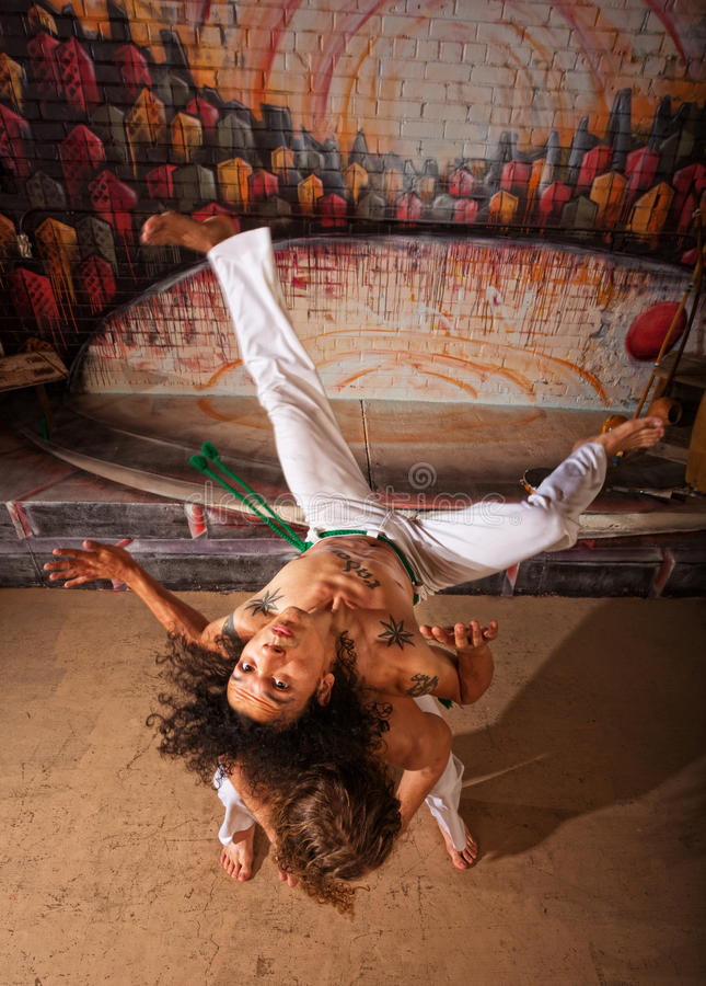 Capoeira Performers Doing Throws royalty free stock image