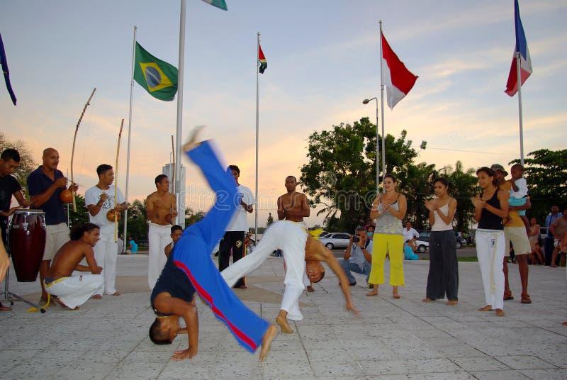capoeira tana występ zdjęcia stock