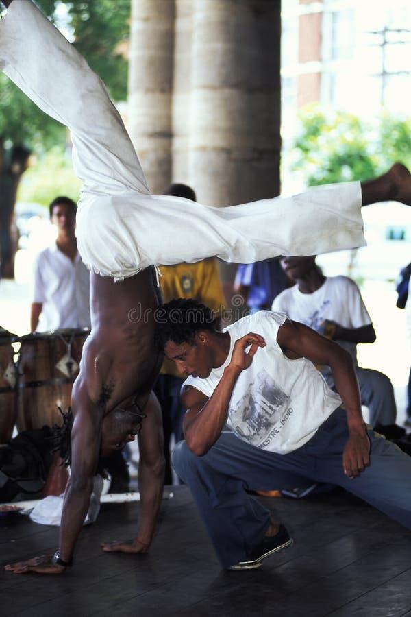 Capoeira-Tanzen, Brasilien stockbild