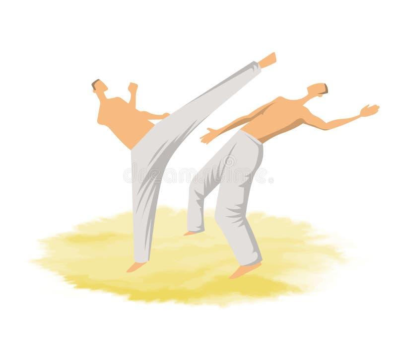 Capoeira tradycyjna Brazylijska sztuka samoobrony człowiek walki dwa również zwrócić corel ilustracji wektora ilustracji