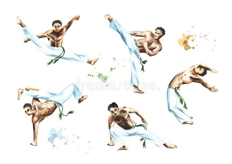 Capoeira wojownicy ustawiają, odizolowywali na białym tle, Pojęcie o ludziach, stylu życia i sporcie, Akwareli ręka rysująca ilus royalty ilustracja