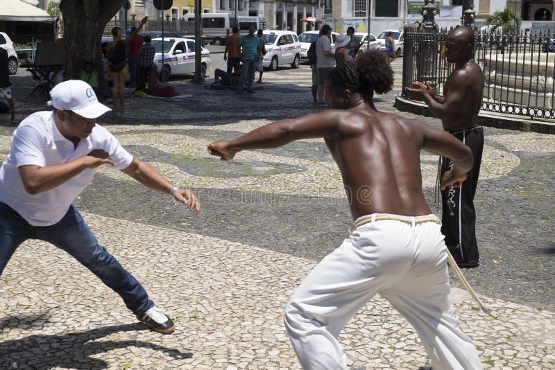 Capoeira występ przy Salvador Brazylia zdjęcia royalty free