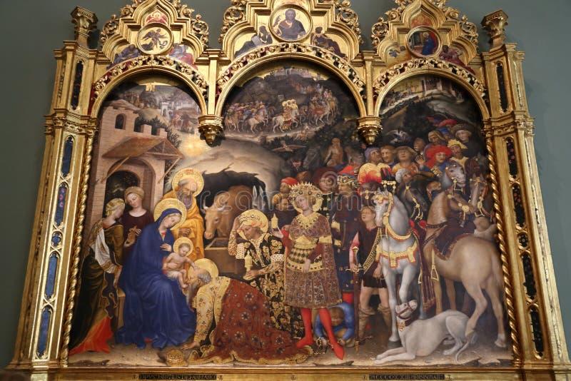 Capolavori nella galleria di Uffizi, Firenze, Italia fotografie stock libere da diritti