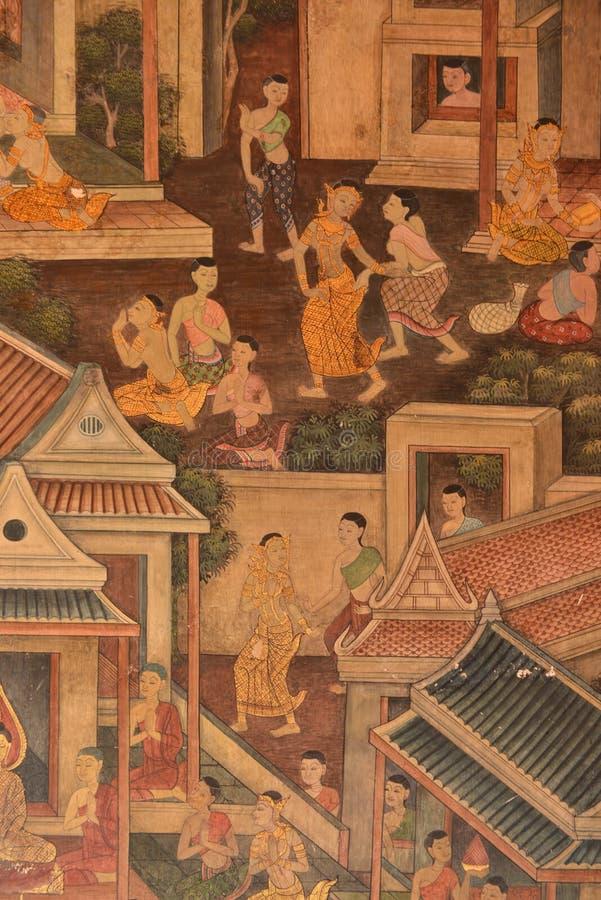 Capolavoro di arte tailandese tradizionale della pittura di stile fotografie stock libere da diritti