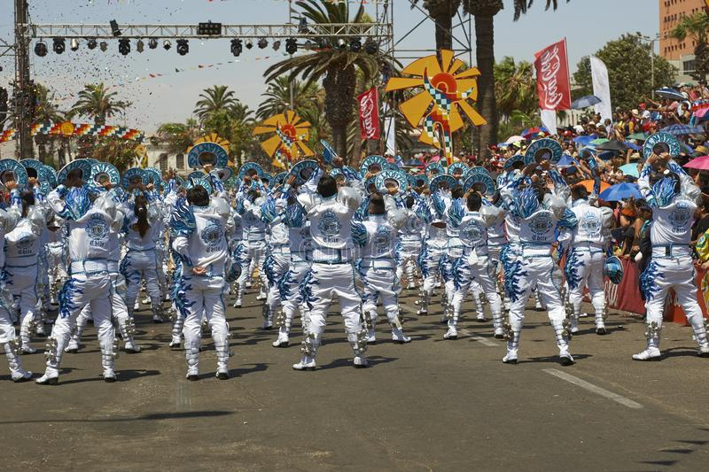 Caporales Dance Group in Arica, Chile. Caporales dance group performing at the annual Carnaval Andino con la Fuerza del Sol in Arica, Chile stock photography