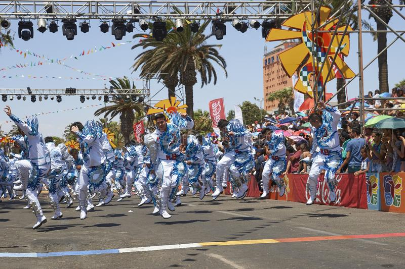 Caporales Dance Group in Arica, Chile. Caporales dance group performing at the annual Carnaval Andino con la Fuerza del Sol in Arica, Chile stock image