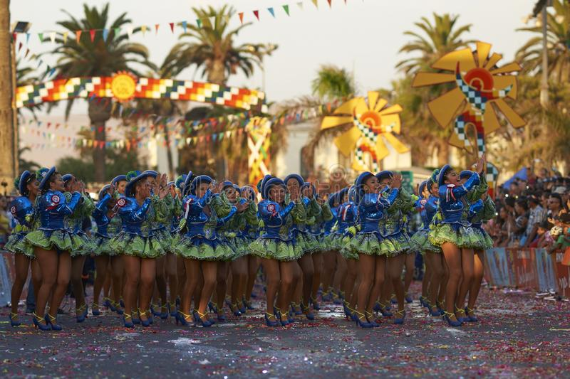 Caporales dance group in Arica, Chile. Caporales dance group performing at the annual Carnaval Andino con la Fuerza del Sol in Arica, Chile stock images