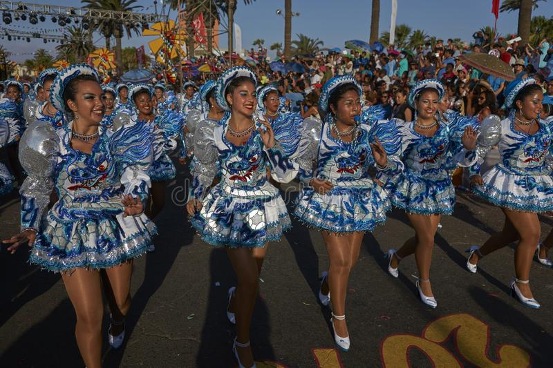Caporales dancers at the Arica carnival in Chile. Female members of a Caporales dance group in ornate costumes performing at the annual Carnaval Andino con la royalty free stock photography