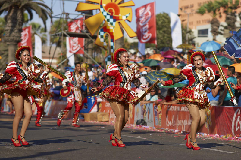 Caporales Dancers - Arica, Chile. Caporales dancers in ornate costumes performing at the annual Carnaval Andino con la Fuerza del Sol in Arica, Chile stock photos