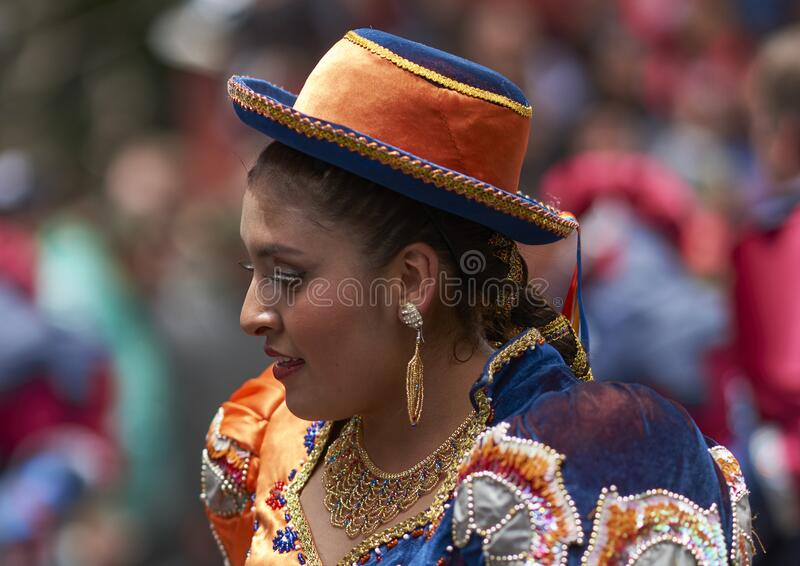 Caporales dancers parading at the Ouro Carnival in Bolivia royalty free stock images