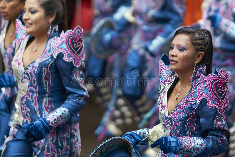 Caporales dancers parading at the Ouro Carnival in Bolivia royalty free stock photos
