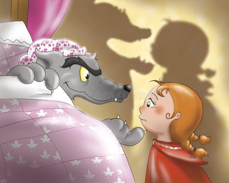 Capot d'équitation et loup rouges 2 illustration de vecteur