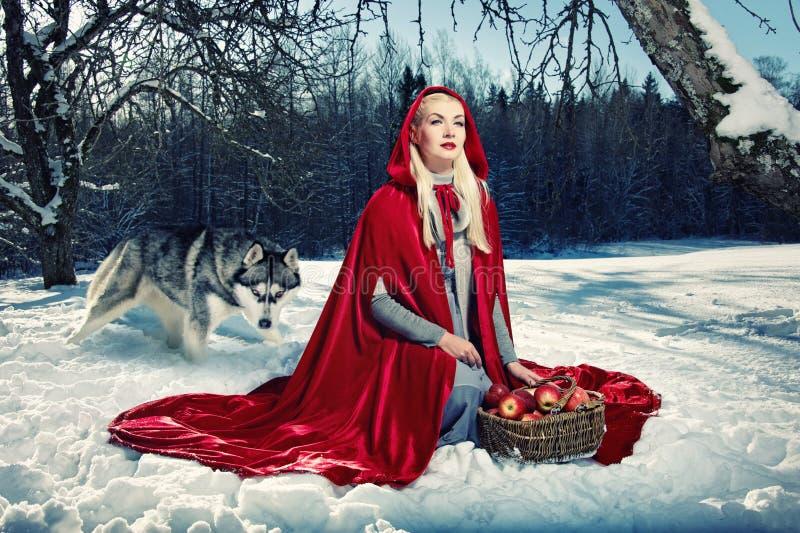 Capot rouge et un loup derrière elle. photographie stock libre de droits