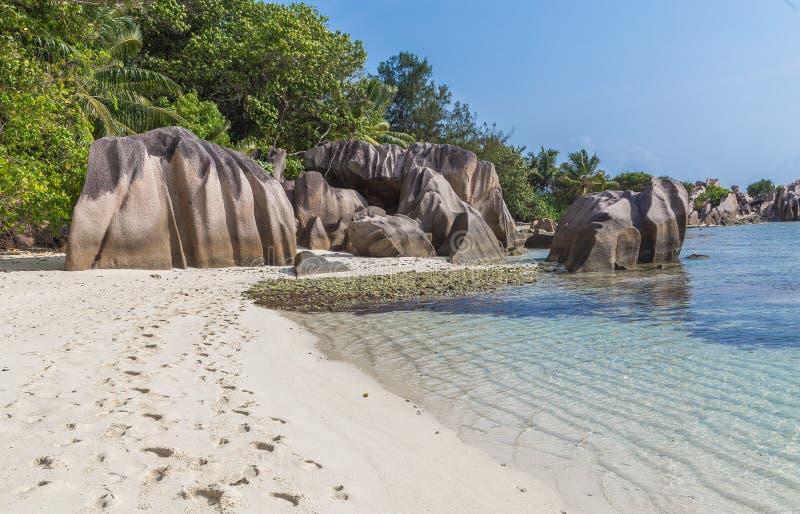 Capota Carre de Anse no La Digue Seychelles fotos de stock royalty free