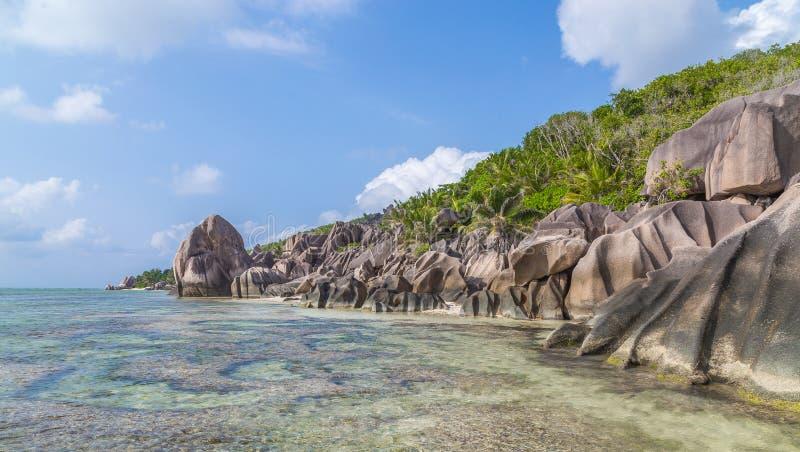 Capota Carre de Anse no La Digue Seychelles fotografia de stock