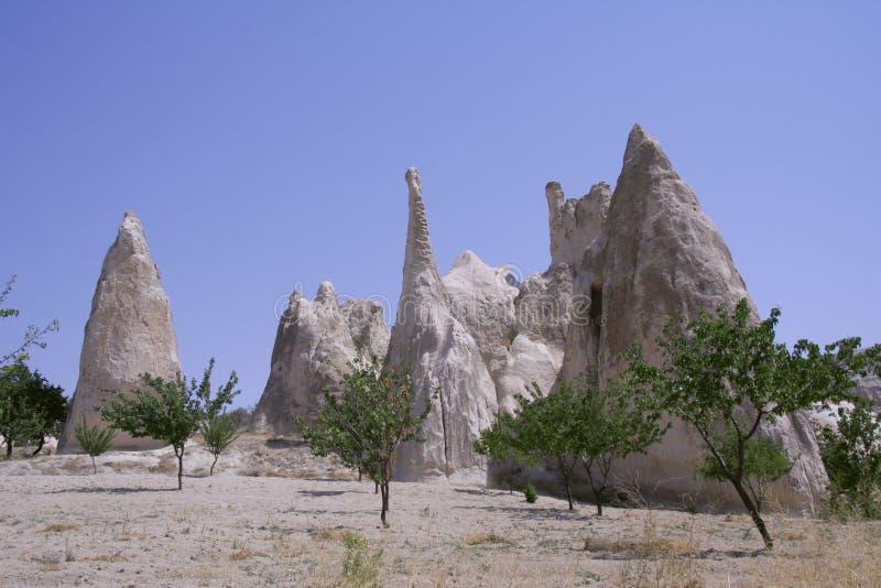 cappadocia使岩石环境美化 免版税图库摄影