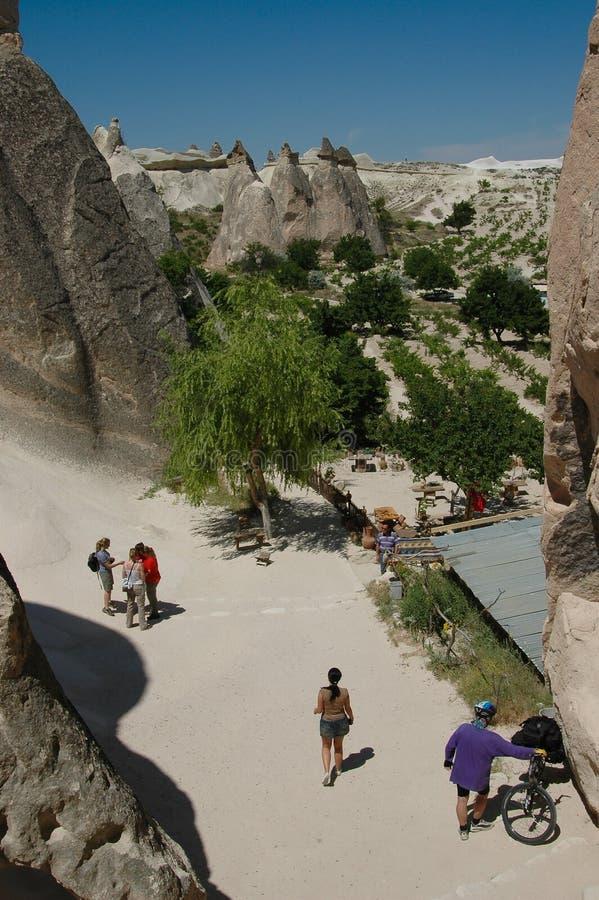cappadocia测试的横向砂岩游人 免版税库存图片