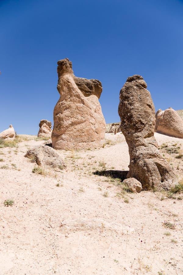 Cappadocia,土耳其 山与风化柱子的Devrent谷  图库摄影