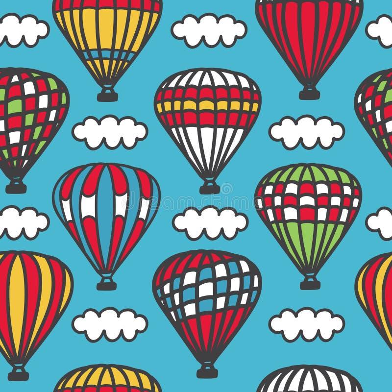 cappadocia Картина яркого вектора безшовная с милым doodle striped горячие воздушные шары с корзинами и облака в небе иллюстрация штока