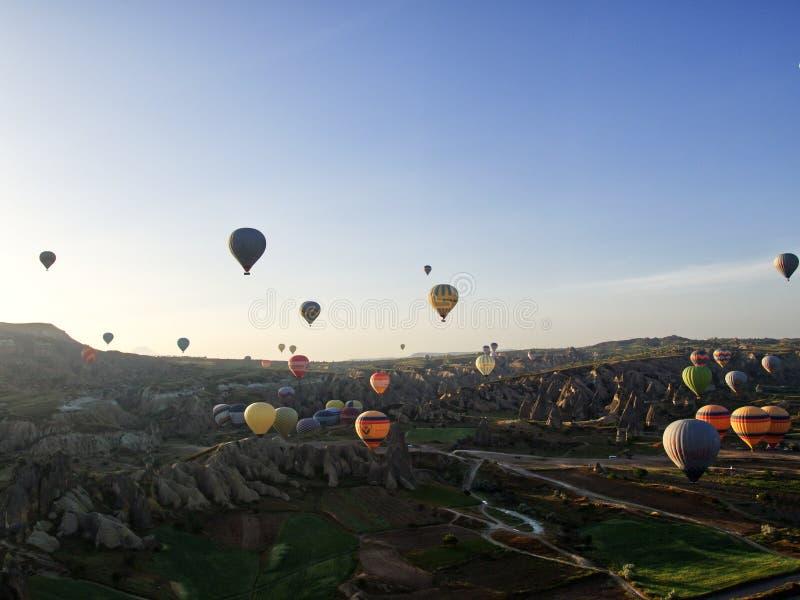 Cappadocia balloons from balloon. Cappadocia balloons at dawn from balloon royalty free stock photography