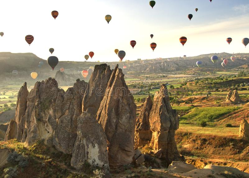 Cappadocia balloons from balloon. Cappadocia balloons with fairy chimneys from balloon stock photos