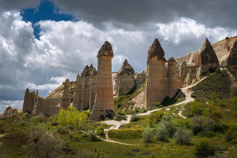 Cappadocia, die Türkei Liebestal in Nationalpark Goreme stockbilder
