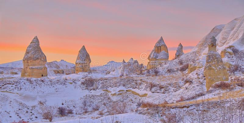Cappadocia nach dem Schnee stockfotografie