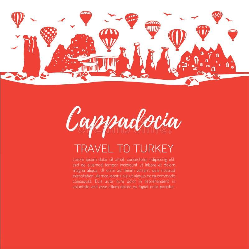 Cappadocia Reis naar Turkije Vector vierkante illustratie van een beroemde Turkse reisbestemming royalty-vrije illustratie