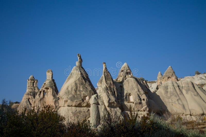 Cappadocia rock formations in Goreme. Tuff rock formation valley Cappadocia in Goreme, Turkey royalty free stock photos