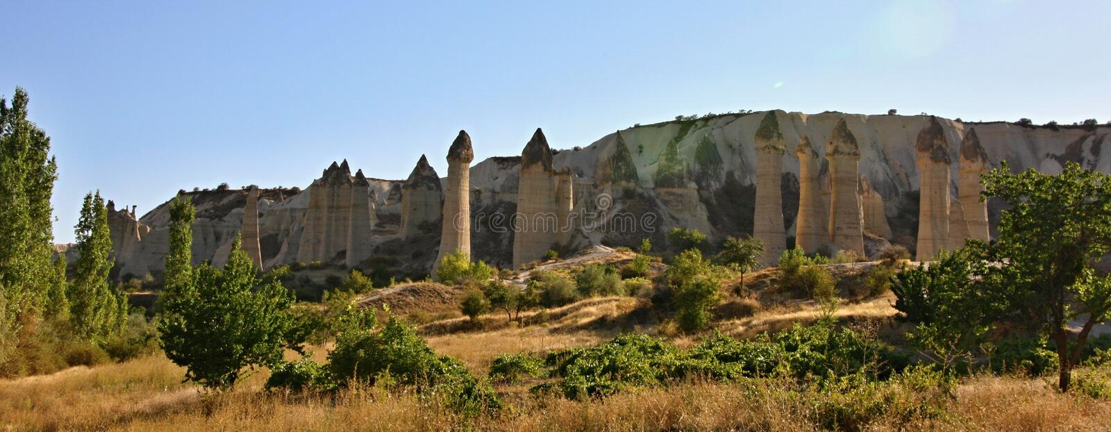 Cappadocia, Steenkolommen in Gorcelid-Vallei stock foto