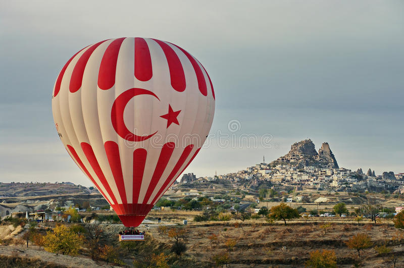 Balloons and hilly landscape. Balloon. Goreme, Cappadocia - landmark attraction in Turkey stock image