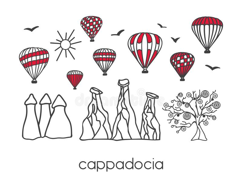 Cappadocia, Turkey. Modern vector illustration of a famous turkish landmarks in a clear design style: black doodle outline and red vector illustration
