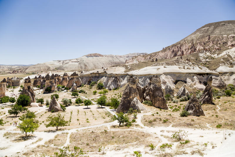 Cappadocia, Turkey. Top view of the pillars of weathering in the Valley Pashabag (Valley of the Monks). Valley Pashabag originally got its name from royalty free stock images