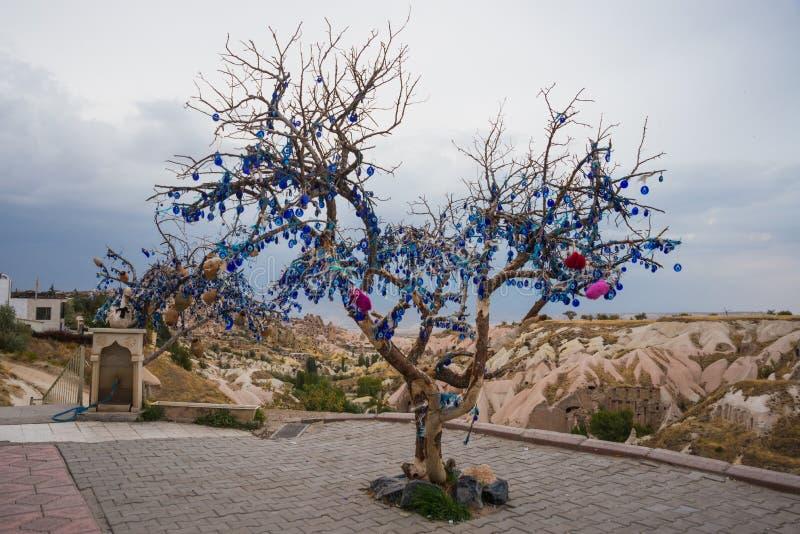Cappadocia Turkiet Önskaträdet dekorerade turkiska berlock mot det onda ögat royaltyfri fotografi