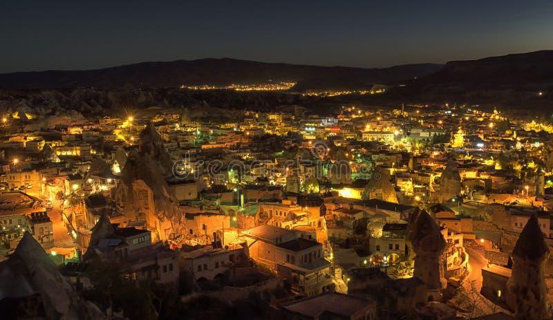 Cappadocia Turkiet natt arkivbild