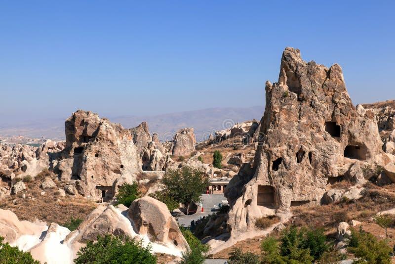 Cappadocia, Turkije. Het openluchtmuseum van Goreme stock foto's