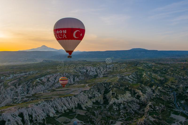 Cappadocia Turkije op Ballon stock foto