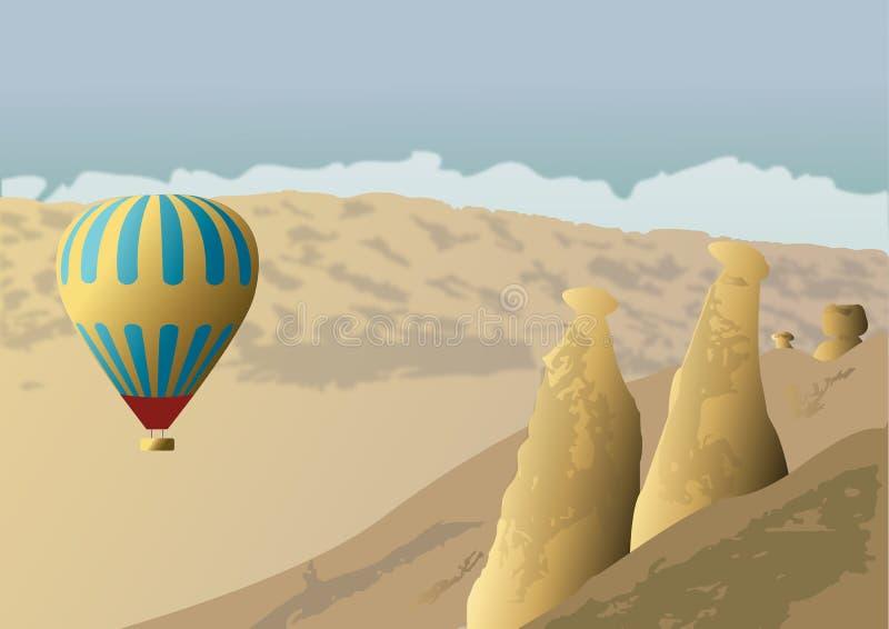 Cappadocia und Ballon stock abbildung