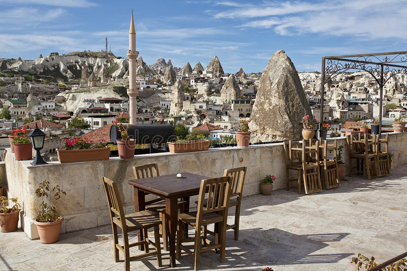 Cappadocia: vista panorâmica do hotel imagem de stock royalty free