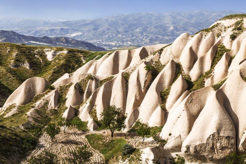 cappadocian横向 桃红色岩石 免版税库存照片