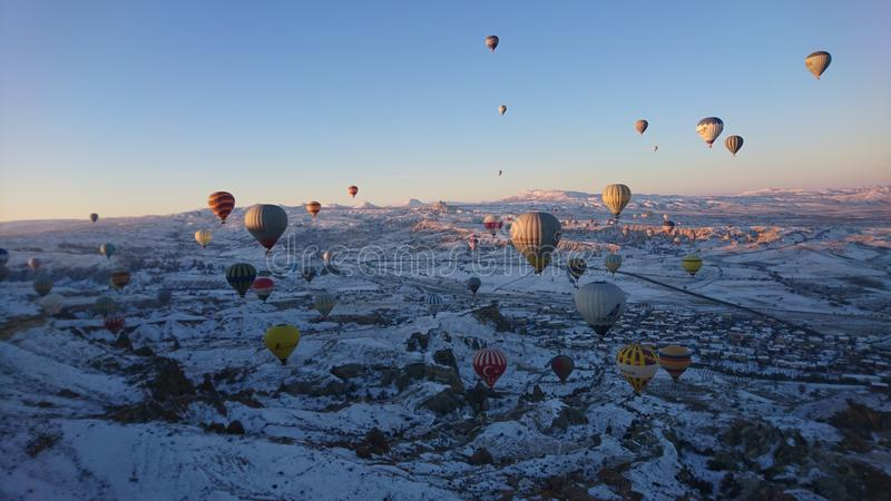 Hot air balloon in cappadogia. Cappadogia hot air balloon in the morning stock images