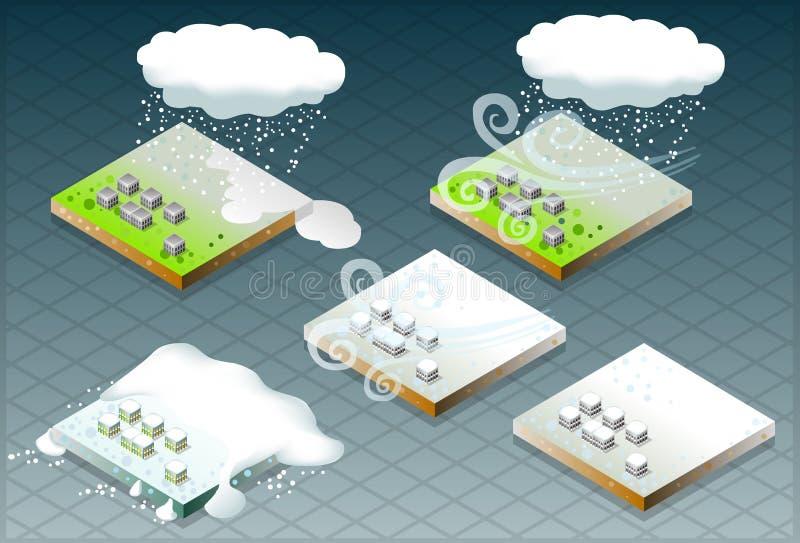 capped isometrisk naturlig snow för katastrof stock illustrationer